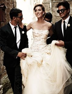Italian Wedding - its traditional for a bride and groom to walk through the streets together... looking fabulous of course!!