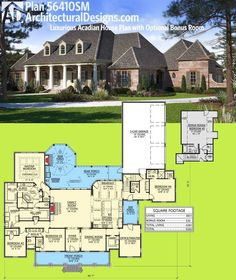 Architectural Designs House Plan 56410SM is a French Country / Acadian beauty. It gives you 4 beds and a possible 5th over the garage. Ready when you are. Where do YOU want to build?