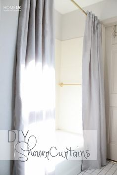 Take It From The Pros - View Along The Way { DIY Curtains } How to make elegant extra-long double-op Tall Shower Curtains, Elegant Shower Curtains, Extra Long Shower Curtain, Custom Shower Curtains, Bathroom Shower Curtains, How To Make Curtains, Diy Curtains, Open Showers, Do It Yourself Inspiration