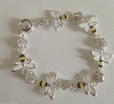 """Bees Bracelet Magnetic Link Jewelry Honey Yellow Jackets Metal Crystals 7.5"""" L"""