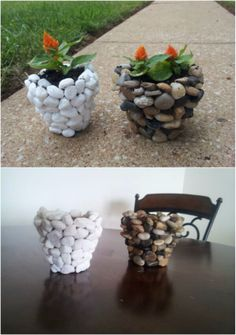 Fall is my favorite time for outdoor DIY projects. It's not too hot and there. - - Fall is my favorite time for outdoor DIY projects. It's not too hot and there's just something about landscaping against those beautiful fall colors t. Stone Planters, Diy Planters, Rock Planters, Fall Planters, Outdoor Planters, Diy Garden Projects, Garden Crafts, Outdoor Projects, Garden Ideas