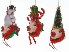 Katherine's Collection THREE Christmas Kissing Fish Ornaments New In Box