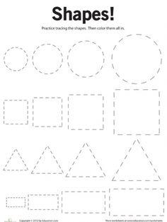 Preschool Shapes Worksheets: Tracing Basic Shapes--a pre writing activity Preschool Printables, Preschool Kindergarten, Preschool Learning, Fun Learning, Preschool Activities, Preschool Shapes, Teaching, Free Printables, Preschool Activity Sheets