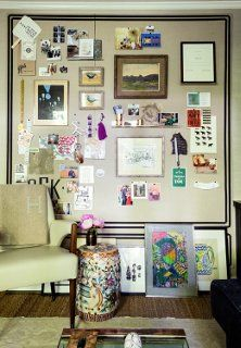 """Idea: Inspiration Board A few of your favorite things hang out on a diy inspiration board—a linen-wrapped composite Homasote board. Propped against the wall below it is a revolving """"gallery"""" of art, an effortlessly cool display for rooms short on wall space."""