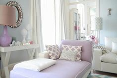Lavender and pale blue bedroom.  Love color combo for girls bedroom