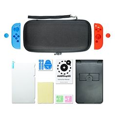 Nintendo Switch Case Compact Playstand Tempered Glass Screen Protector Joy-Con Silicone Grips And Caps Red And Blue 20 Games Storage Capacity.