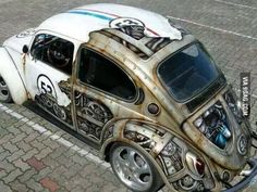 Awesome steampunk paint job on a VW Beetle