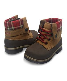 Crocs Espresso & Hazelnut Plaid Cobbler Boot - Kids | zulily