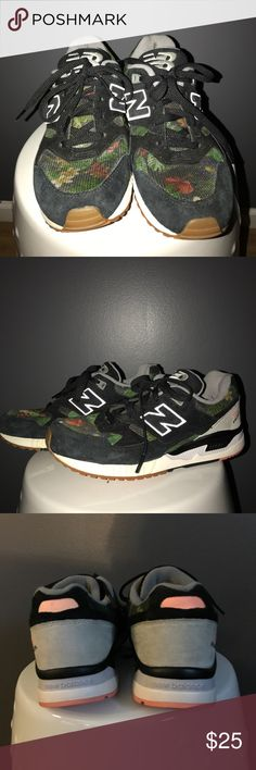 New Balance Floral Tennis Shoes suede and reinforced mesh with a flora design.  Have been worn some not a lot mostly inside or to and from gym.  Any inside staining is from odor eater pads. Shoes are odor free and have life left in them. New Balance Shoes Sneakers