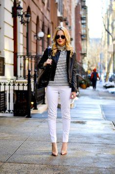 Leather Jacket & White Pants