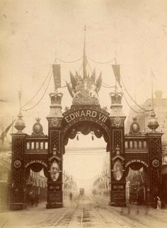 Street decorations for the royal visit to Melbourne in 1901