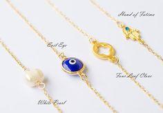 Summer Four Leaf Clove   Evil Eye   Pearl   Hamsa  Hand of Fatima Bracelets
