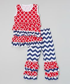 Look at this #zulilyfind! Red Ruffle Tank & Zigzag Pants - Infant & Toddler by Tutu AND Lulu #zulilyfinds