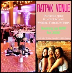 Weddings, ceremony and reception, available at the RatPak Venue in Lafayette, Indiana! Amazing view of the courthouse, big beautiful windows, lighting by Audra, Heart's Arrow Events! DJ by Rat Pak's Powder.