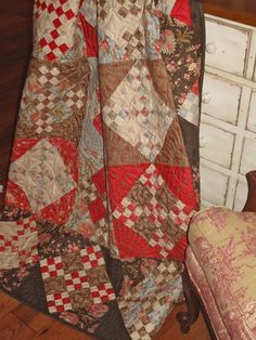 red brown and blue quilt