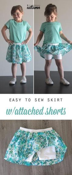 Add fabric to purchased shorts to make a cute skirt with attached shorts - this looks so easy! diy sewing tutorial. by rachelle