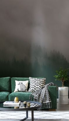 Go green. This beautiful forest wallpaper is moody yet marvellous, capturing the attention of anyone who walks into the room. Pair with gold accessories to create an understated luxury feel to your home.