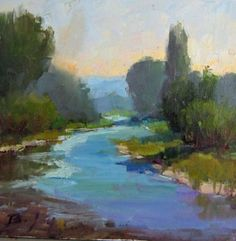 River and Trees oil Landscape painting, painting by artist Becky Joy