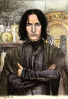 Use and draw by hand this time.by Color pencil drawing Professor Severus Snape C Harry Potter Film, Carte Harry Potter, Harry Potter Portraits, Harry Potter Sketch, Images Harry Potter, Harry Potter Drawings, Harry Potter Fan Art, Harry Potter Universal, Harry Potter Fandom