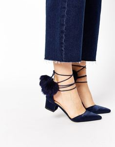 Asos Heels navy with pom pom, gorgeous with jeans