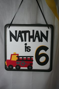 Birthday Party Sign - Personalized Fire Truck, Fire Engine, Fireman, Firefighter Theme. $15.00, via Etsy.