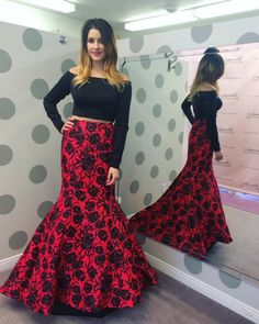 Cheap Prom Dresses Under 50 2016 Two Pieces Prom Dresses With Long Sleeves And Black Bodice Off Shoulder Print Floral Satin Mermaid Sexy Pageant Gowns Custom Made Cute Prom Dresses From Nicedressonline, $203.83| Dhgate.Com