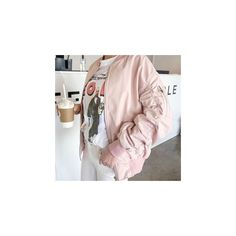 Shirred Sleeve Flight Jacket ($71) ❤ liked on Polyvore featuring outerwear, jackets, women, bomber style jacket, bomber jacket, pink bomber jacket, blouson jacket and pink jacket