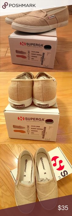 Superga Linen Burnt Sienna Sz 7.5 (EU 38) Slip Ons Superga Linen Burnt Sienna Slip On Sneakers  / Women's Sz 7.5 (EU 38)  / Men's Sz 6 / worn once in the house for a few hrs. I might've walked outside to the mailbox and back in them, but that's it. Very, very good condition / Very comfy Superga Shoes Sneakers