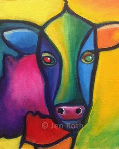 Abstract Cow Artprint 8 x 10 of Original Oil Painting WOW COW Modern Award winning colorful home decor Purple Cow, 3rd Grade Art, Cow Art, Bizarre, National Art, Animal Paintings, Pet Portraits, Vector Art, Watercolor Paintings