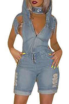 Farktop Farktop Women Plus Size Sexy V Neck Backless Hood Denim Jumpsuit Romper Overall