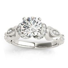 Transcendent Brilliance 14k Gold 1 1/ 2ct TDW Certified Diamond Victorian Engagement Ring (G-H, VS1-VS2) (White Gold - Size 6.75), Women's, Rose