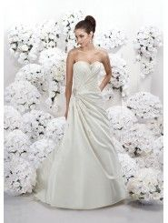 Silk Off-shoulder Sweetheart Gathered Bodice A-line Wedding Dress
