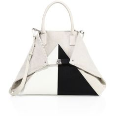 Akris AI Medium Canvas & Leather Tote ($1,690) ❤ liked on Polyvore featuring bags, handbags, tote bags, leather tote bags, white leather tote bag, handbags totes, white canvas tote and white leather tote
