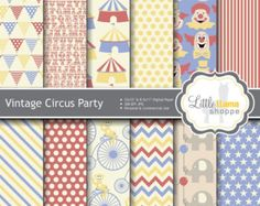 Vintage Circus Digital Paper, Antique Carnival Scrapbook Paper Pack, 8.5x11 and 12x12, INSTANT DOWNLOAD