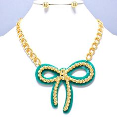 Ultra Fab Ribbon Necklace in gorgeous teal color.