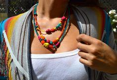 Boho Triple Strand Colorful Asymmetrical by uniquebeadingbyme #neon #colorful #beading