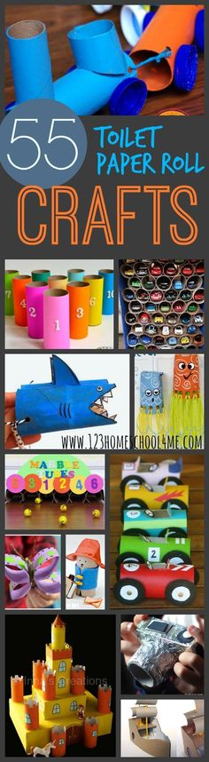 55 Creative and Unique Toilet paper roll crafts for kids - LOVE this list! So many FUN tp roll crafts for kids to use for toddlers, preschool, kindergarten, grade and grade kids. Craft Activities For Kids, Preschool Crafts, Projects For Kids, Diy For Kids, Kids Crafts, Preschool Kindergarten, Crafts With Toddlers, Baby Crafts, Recycled Projects Kids