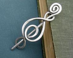 Aluminum Shawl Pin or Sweater Brooch - Madonna Swirl - Light Weight Aluminum Wire. $18.00, via Etsy.