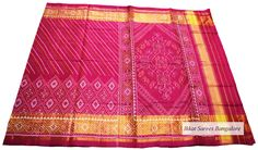 Ikat patola silk saree in pink with skirt border. Code: ISB7016 Write to ikkatsareesbangalore@gmail.com or inbox the message. Contact : +918792177606 www.facebook.com/ikkatsareesbangalore
