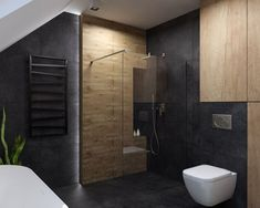 Drewno, ciemny kamień i szkło w łazience na poddaszu | Ceramika Paradyż Best Living Room Design, Interior Design Living Room, Living Room Designs, Baby Bathroom, Loft Bathroom, Bad Inspiration, Bathroom Inspiration, Bathroom Vanity Designs, Toilet Design