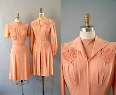 1940s Dress and Coat / Sweetheart Ensemble / 40s
