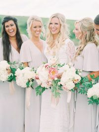 Light and airy outdoor wedding. Bridesmaids in blush pink dresses. Light pink bouquet with greenery. Planning and design: Venue: Floral: Dress: Makeup: Apothecari Skin Care Hair: Cake: Catering: Entertainment: Cinema: Rental Bridesmaid Inspiration, Wedding Inspiration, Wedding Ideas, Style Inspiration, Bridesmaid Flowers, Bridesmaid Dresses, Pink Dresses, Bridesmaids And Groomsmen, Wedding Bridesmaids