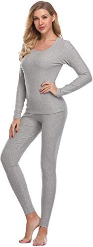 Cherrydew Womens Ultra Soft Thermal Underwear Set Cotton Long Johns Base Layer Fleece Lined Cuddle Duds