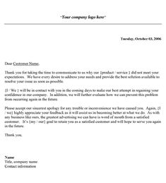 Customer Apology Letter This Letter Template Apologizes To A