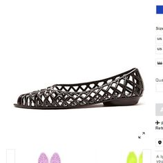 Black Flat Lattice Jelly Sandal A lightweight jelly sandal featuring a latticework pattern and half inch heel. American Apparel Shoes Flats & Loafers