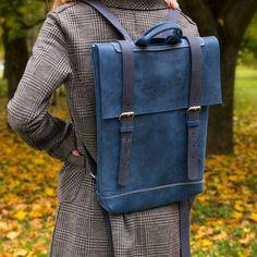 Blue leather hipster backpack, leather laptop backpack, laptop bag for 15.6 inch laptop
