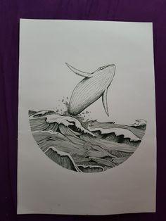 #ink #inkart #whale #ocean #waves #selfmade #drawing #art