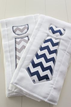 Set of 2 Custom Chevron Necktie Burp Cloths Navy and Gray for Baby Boy or Girl