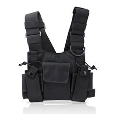 abcGoodefg Radio Chest Harness Chest Front Pack Pouch Holster Vest Rig for Two Way Radio Walkie Talkie(Rescue Essentials) (Black) ** Check out the image by visiting the link.