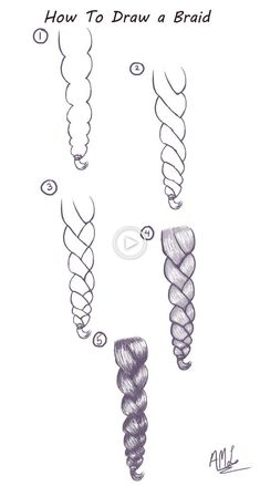 to draw a cable pattern: Here is a quick and easy tutorial for drawing a braid. How to draw a cable pattern: Here is a quick and easy tutorial for drawing a braid. How to draw a cable pattern: Here is a quick and easy tutorial for drawing a braid. Cool Art Drawings, Pencil Art Drawings, Art Drawings Sketches, Easy Drawings, Amazing Drawings, How To Draw Braids, How To Draw Hair, Learn How To Draw, Drawing Techniques